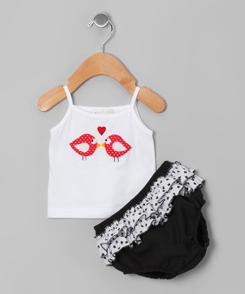 White Love Bird Tank & Black Ruffle Diaper Cover - Infant