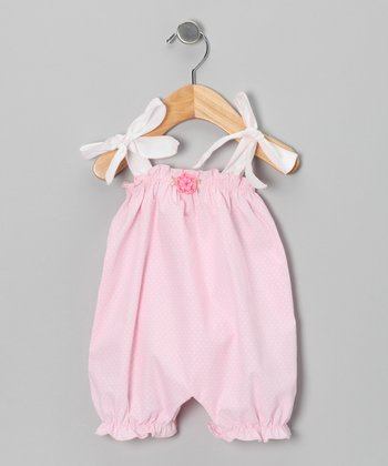 Pink & White Polka Dot Bubble Romper - Infant