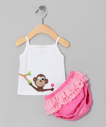White Monkey Tank & Fuchsia Ruffle Diaper Cover - Infant