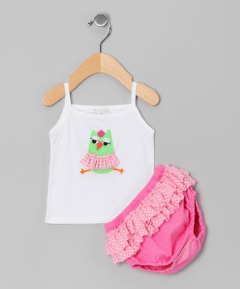 White Owl Tank & Fuchsia Ruffle Diaper Cover - Infant