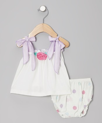 Off-White Rosette Tank & Diaper Cover - Infant