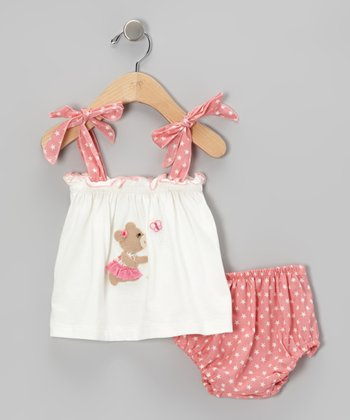 Dusty Rose Bear Tank & Diaper Cover - Infant