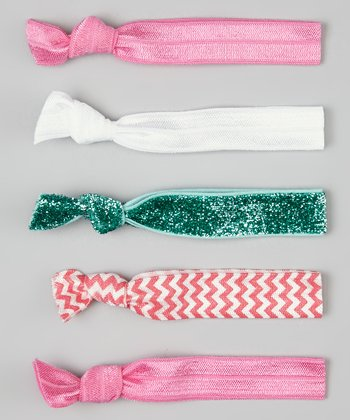 Pink & Teal Glitter Hair Tie Set