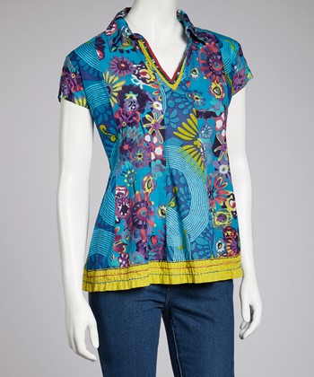 Turquoise Floral Short-Sleeve Top
