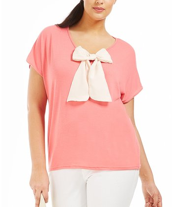 Coral Bow Alicia Top - Plus
