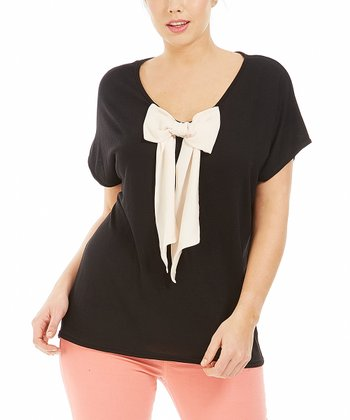 Noir Bow Alicia Top - Plus