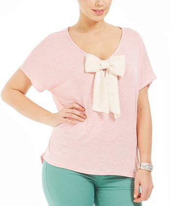 Light Pink Bow Alicia Top - Plus