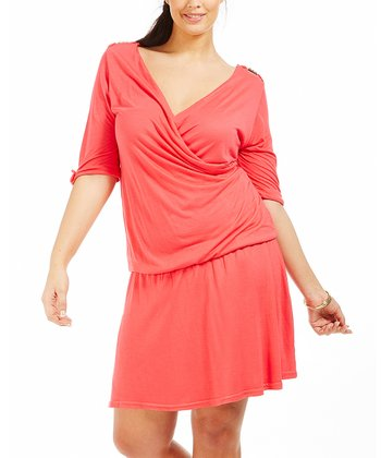 Coral Alisa Drop-Waist Dress - Plus