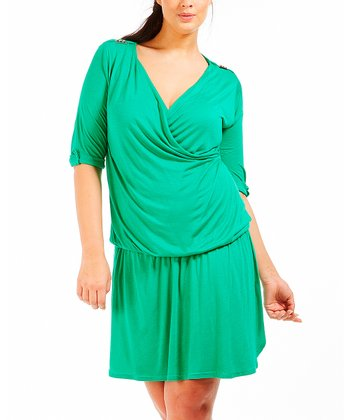 Green Alisa Drop-Waist Dress - Plus