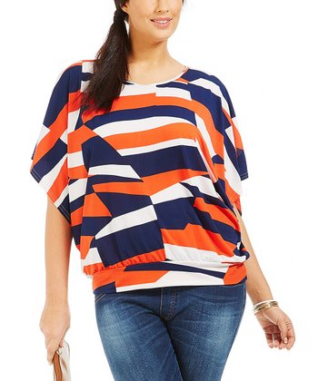 Coral Abstract Ashley Dolman Top - Plus