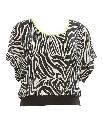 Black Zebra Ashley Dolman Top - Plus