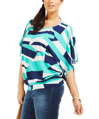 Blue Abstract Ashley Dolman Top - Plus