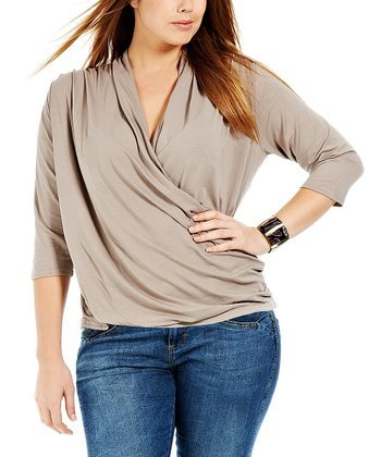Taupe Drady Surplice Top - Plus