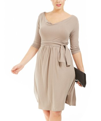 Taupe Drape Dress - Plus
