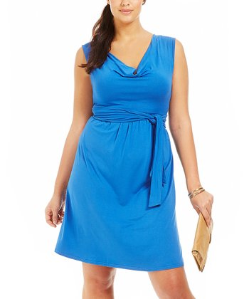 Blue Drape Dress - Plus