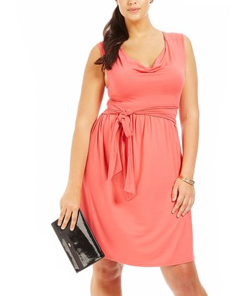 Coral Drape Dress - Plus