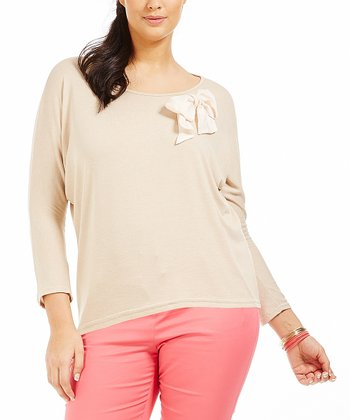 Taupe Bow Elias Tee - Plus