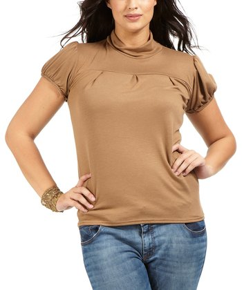 Camel Felix Mock Neck Top - Plus
