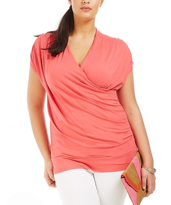Coral Genny Surplice Top - Plus