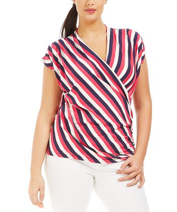 Framboise Stripe Genny Surplice Top - Plus