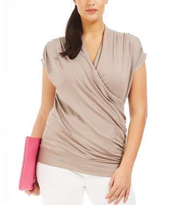 Taupe Genny Surplice Top - Plus
