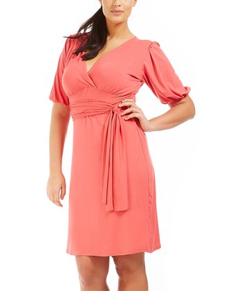 Coral Icacia Surplice Dress - Plus