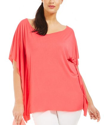 Coral Iloane Cape-Sleeve Top - Plus