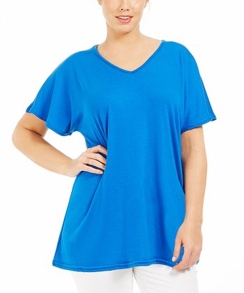 Blue Ilonia Drape Tee - Plus