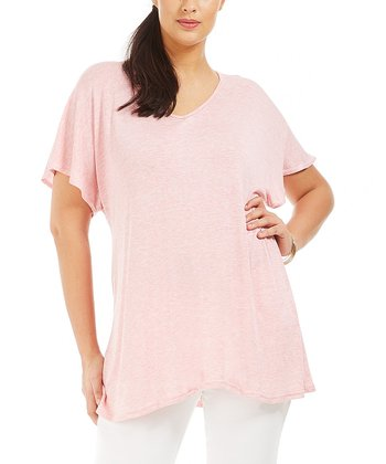 Light Pink Ilonia Drape Tee - Plus