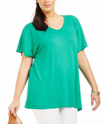 Green Ilonia Drape Tee - Plus
