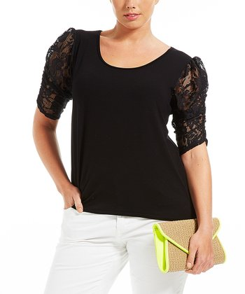 Noir Lace Puff-Sleeve Top - Plus
