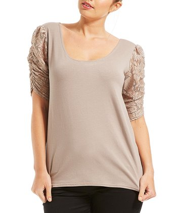 Taupe Lace Puff-Sleeve Top - Plus