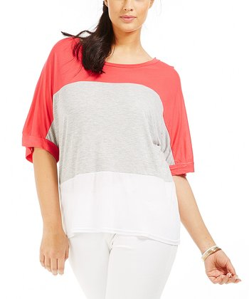 Gray Color Block Kiya Top - Plus