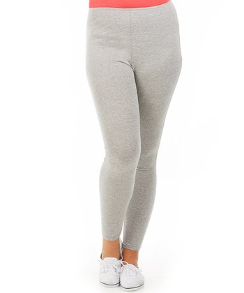 Gray Long Leggings - Plus
