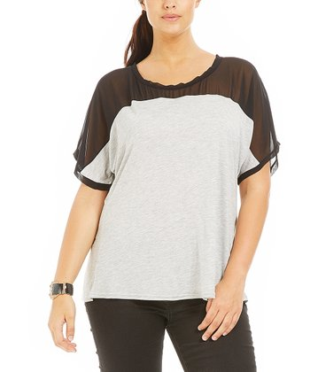 Gray Sheer Lina Top - Plus