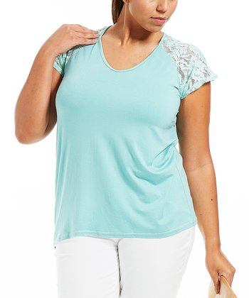 Green Lace Louna Tee - Plus