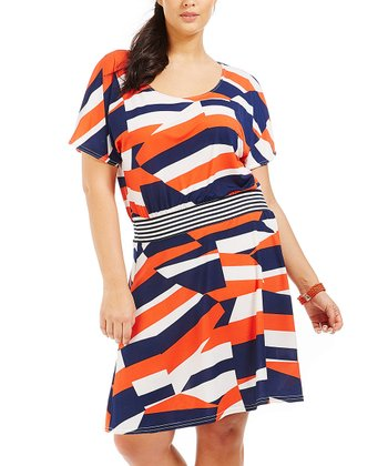 Orange Abstract Lya Dress - Plus