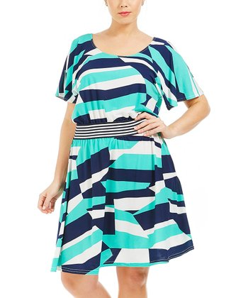 Green Abstract Lya Dress - Plus