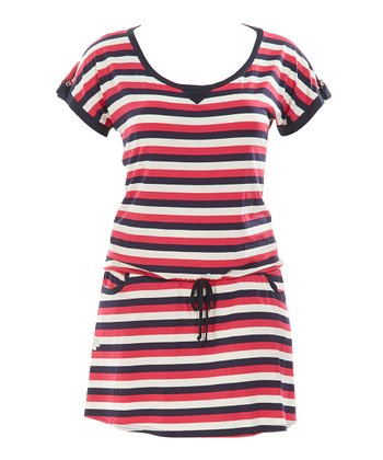 Framboise Stripe Mareva Dress - Plus