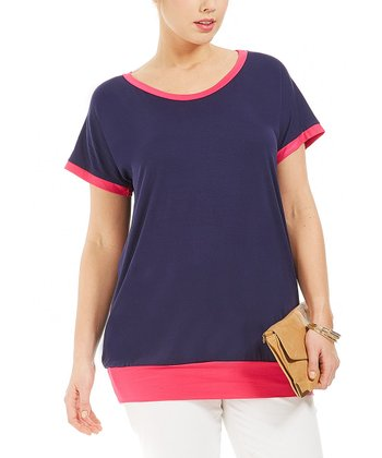 Blue Color Block Melinda Tee - Plus