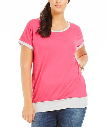 Fuchsia Color Block Melinda Tee - Plus