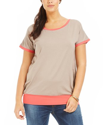 Melinda Taupe Color Block Tee - Plus