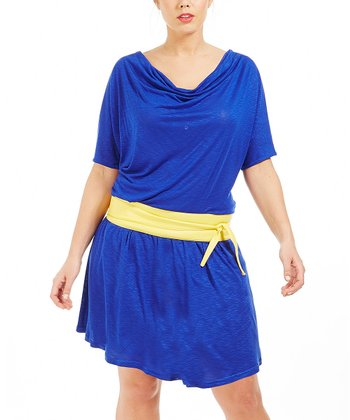 Blue Mia Drape Dress - Plus
