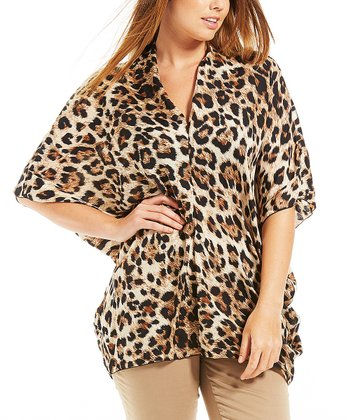 Brown Leopard Nikita V-Neck Tunic - Plus