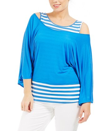 Blue Nineraye Layered Top - Plus
