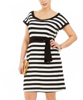 Noir Stripe Ninnaete Dress - Plus