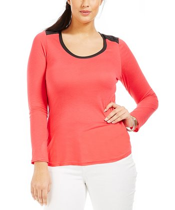 Coral Leather Nora Tee - Plus