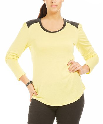 Yellow Leather Nora Tee - Plus