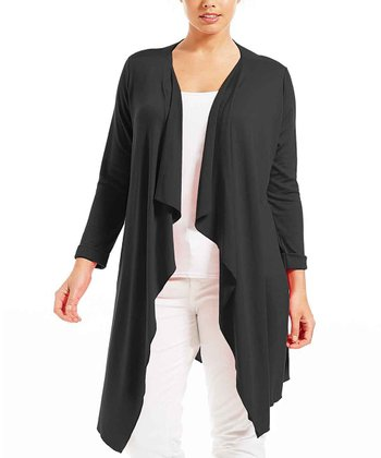 Noir Poline Open Cardigan - Plus