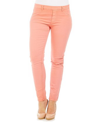 Peach Stretch Skinny Pants - Plus